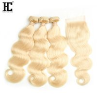 Wholesale body wave blond human hair for sale - Top Selling Blond Human Hair Bundle Lace Closure A Mink Brazilian Hair Bundles Body Wave with Lace Cloaure Bundles with Closure