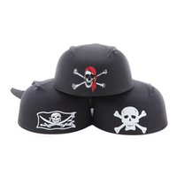 Wholesale rounded hat women online - Halloween Ballroom Party Supplies Round Pirate Hat Pirate Captain Hat g Skull hats good quality