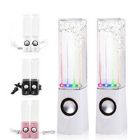 Wholesale 1 Pair Dancing Water Speaker Portable Mini USB LED Light Speaker For PC Laptops Tablets Mobiles Subwoofer water column audio