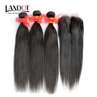 Wholesale burgundy 18 inch weave online - 4 Bundles Brazilian Straight Virgin Hair Weaves With Lace Closure Unprocessed Malaysian Peruvian Indian Cambodian Human Hair Closures
