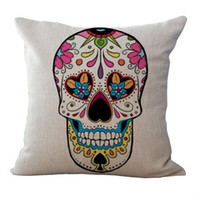 Wholesale twill linen for sale - Skull Pattern Cushion Europe Retro Style Linen Cover Personality Top Quality Pillow Case Car Home Decor Non Core my R