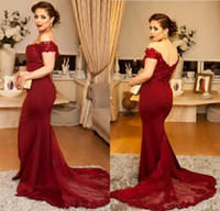 Wholesale petite bridesmaid dresses elegant for sale - Custom Made Elegant Off Shoulders Formal Burgundy Evening Dresses Vestidos de Festa Long Mermaid Prom Gowns Cheap Bridesmaid Dresses