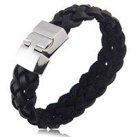 Wholesale titanium braided online - High Quality Titanium Steel Multilayer Braided Leather Bracelets Men Bangle Men Jewelry Genuine Leather Bracelet For Men