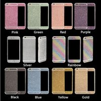 Wholesale iphone 5s front skin for sale - Luxurious Full Body Bling Diamond shiny Glitter Rainbow Front Back Sides Skin Sticker cover For Iphone s Plus s p