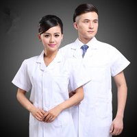 Wholesale beauticians uniforms online - Medical white dress with short sleeves laboratory overalls Male nurse physician beautician uniform clothing