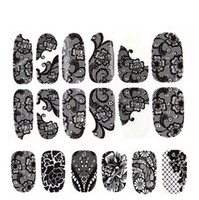 Wholesale black nail lace sticker for sale - New foreign trade sales Nail polish stickers black lace Decals Nail Art Stickers Decals Manicure styles nails stick