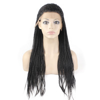 Wholesale braid black hair american online - Kanekalon Braiding Hair Wig Full Long Micro Braided Synthetic Lace Front wigs For Black Women Braid Wig for Africa American
