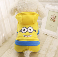 Wholesale minion clothes for sale - Autumn Winter Cartoon Minion Pet Clothes Product Supply Coat for Small Dog Chihuahua Superhero Costume Fleece Puppy Suit Pet Supplier XS XXL
