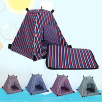 Wholesale dog bedding wholesale online - Pet Tent Summer Dog Soft Bed Removable Kennel Water Proof Oxford Cloth Stripe Cat Nest Outdoor Supplies az F R