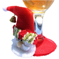 Wholesale bamboo wine set online - set Christmas santa claus wine glass Coaster goblet party christmas home table Decoration Placemat Cup Mat Pad Party Supply