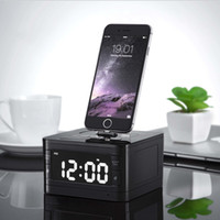 Wholesale Portable brand T7 Bluetooth Radio Alarm Clock Speaker System with LCD Screen Music Dock Charger Station Stereo Speaker for Pin iPhone ipod