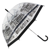 Wholesale print plastics online - Long Handle Umbrellas Many Styles Woman Outdoor Articles Popular Mustache Printing Transparent Umbrella For Lady Gift jh C R