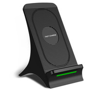 Wholesale qi charger online - Qi Fast Wireless Charger with Cooling Fan Upgrade Portable Coils Quick Wireless Charging Stand for iPhone XS Max