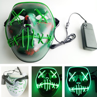 Wholesale Led Glowing Masks Halloween The Purge Election Year EL Wire Mask Luminous Neon Models Flashing Skull Vampie Full Face Party Scarey Mask