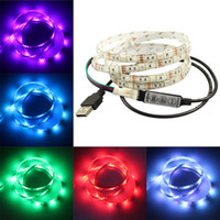 Wholesale rgb cable usb online - 5V DC led strips SMD3528 LEDs RGB SMD5050 LEDs Flexible LED Strip USB Cable for TV Car Computer Tent Lighting