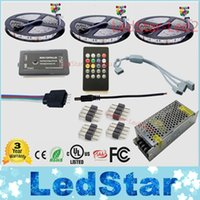 Wholesale free pc controller online - 15m Music led strip Waterproof Tape Ruban V Flexible Music Remote controller Power adapter Kit