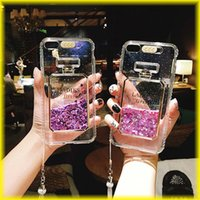 Wholesale luxury perfume bottle case for apple online - Luxury Flowing Sand Shell For Iphone Iphone s Transparent All Inclusive Flow Sand Perfume Bottle Lanyard Fashion Lanyard Phone Case Via D