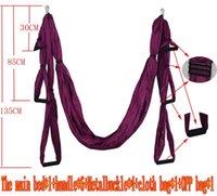Wholesale yoga swing for sale - m m Elastic Exercise Yoga hammock Aerial swing anti gravity Yoga belt Inversion Trapeze hanging gym traction
