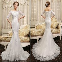Wholesale sexy summer wedding dresses online - Newest Half Sleeve Lace Mermaid Wedding Dresses Appliques Beaded Bride Dresses Lace up Back Wedding Gowns