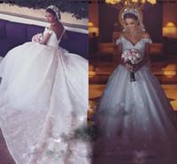 Wholesale romantic off shoulder wedding dresses online - Saudi Arabia Wedding Dresses Ball Gown Sexy V neck Off Shoulder Romantic Flowers Vestidos de novia Luxury Cathedral Train Bridal Gowns