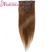 Wholesale clip in human hair extensions online - Brazilian Peruvian Indian Malaysian Straight Human Hair Extensions set Non Remy Clip in Full Head Virgin hair wefts price