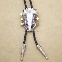 Wholesale Western Men Country Music Guitar Band Leather Rodeo Bola Bolo Tie Necktie Gift For