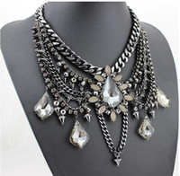 Wholesale women's rhinestone choker online - 3pcs Luxury Color Crystal Bridal Collar Necklace S Pendants Fashion Women Rhinestone Wedding Maxi Statement Necklace F227