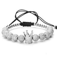Wholesale titanium braided online - Men bileklik slivery Crown Charm Bracelets Jewelry DIY mm Round Beads Braided Bracelet Female pulseira Zircon