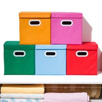 Wholesale woven bedding online - Storage Box Flip Non Woven Fabric Fold Finishing Boxes Clothes Debris Multi Function Locker Case A Variety Of Colors ly J R