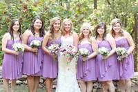 Wholesale knee length wedding dress line sweetheart online - Country Style Bridesmaid Dresses Short Modest Beach Wedding Guest Wear Ruffle Plus Size Knee Length Bridesmaid Dresses New Cheap