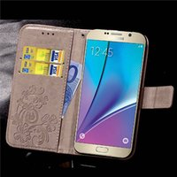 Wholesale galaxy note3 flip cover online - Four Leaf Clover Case for Samsung Galaxy Note2 Note3 Note4 Note5 Note6 Note7 Cover Flip Wallet Case Phone Coque PU Leather Embossed