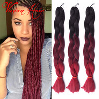 Wholesale ombre braiding hair online - Ombre Three Two Mix Colors Kanekalon Braiding Hair Synthetic Jumbo Braiding Hair Extensions inch Crochet Braids Hair Bulk Price
