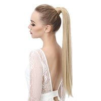 Wholesale 2017 Long Straight quot Synthetic Wrap Around Ponytail Hair Extensions High Temperature Fiber Clip in Hairpieces