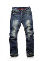 Wholesale black ripped skinny jeans plus size online - New Brand Vintage Men designer Casual Hole Ripped Jeans Mens Fashion Long Skinny Pants Denim Male Trouser Plus Size