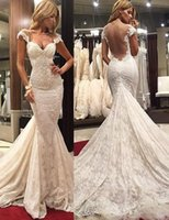Wholesale short sleeve open back wedding dress for sale - Sweetheart Short Sleeves Capped Open Back Mermaid Lace Luxurious Sheath Sexy Wedding Dresses