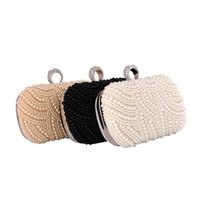 Wholesale evening clutch bags wholesale for sale - 2017 New style luxury evening bags pearl beading elegant clutch shoulder party wedding bride handbags color