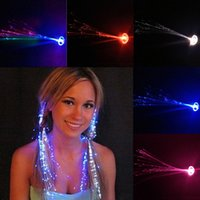 Wholesale Flash Braid Colorful Flash Braid Luminous LED Hearwear Headdress Masquerade Festival Props Light Up Fiber Optic Hair Pigtail Christmas Gift