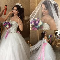 Wholesale bridal wedding dress rhinestone for sale - Sparkly Rhinestone Beaded Wedding Dresses Ball Gown Sweetheart Tulle Bridal Gowns With Pink Bow Cheap Wedding Dress Custom Made