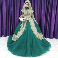 Wholesale red muslim wedding dresses hijab online - 2018 Muslim Green And Gold Lace Ball Gown Islam Wedding Dresses Arabic High Collar Long Sleeves Hijab Veil Plus Size Bridal Gowns