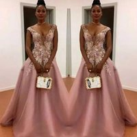 100c3cf7626d Dusty Pink A Line Prom Dresses South African Sheer Neck Flora Appliques Evening  Gowns Floor Length Zipper Back Formal Party Dress