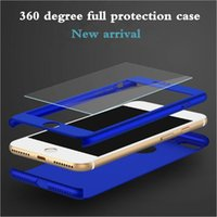 Wholesale iphone 5s glass screen protector gold online - 360 Degree Coverage Full Body Protection With Tempered Glass Screen Protector Hard PC Case Cover For iPhone Plus S SE S
