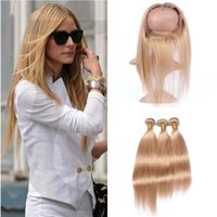 Wholesale honey brown hair weave online - Brazilian Honey Blonde Human Hair Weaves With Frontal Silky Straight Pure Color Light Brown Full Lace Band Frontal With Bundles