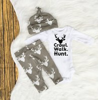 Wholesale hunting clothes wholesale for sale - 2017 HUG ME Newborn Clothes Kids Letters and Deer Printed Suits Baby Girls Boys carwl walk hunt Tops Romper Deer Pants Hat Outfits Set