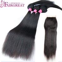 Wholesale braid in' bundles online - Fairgreat Braid In human hair Bundles Straight Body Wave Human Hair Bundles with lace closure Brazilian Virgin Hair Extension