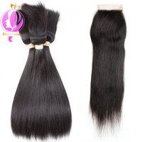 Wholesale braid in' bundles for sale - Doheroine Straight Human Hair Bundles Braid In Human Hair Bundles With Lace Closure Brazilian Virgin Hair Extension