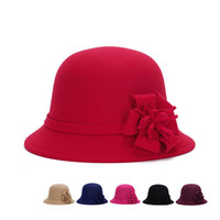 Wholesale fitted women wedding dresses online - Fashion Elegant Fedoras Derby Hat With Flower For Women Dress Church Hats Ladies Formal Wedding Dress Honey Winter Warmer Fishing Bucket Cap