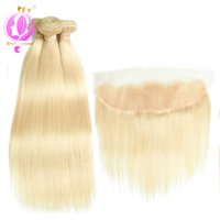 Wholesale blonde hair for sale - A Human Straight Hair Bundles Brazilian Virgin Human Hair Bundles With Lace FrontalHair Extensions
