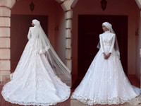 Wholesale red muslim wedding dresses hijab for sale - Modest Lace Hijab Wedding Dresses Muslim High Neck Long Sleeve White Bridal Gowns Sweep Train Wedding Gowns Custom Made Online Vestidos
