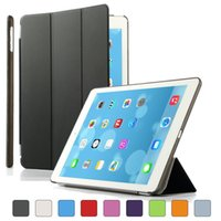 Wholesale ipad smart clear back case online - Leather Smart Front Case Cover for ipad Air Transparent Clear Back Case for ipad retina Sleep Wake Up Features