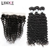 Wholesale lace frontal online - Brazilian Virgin Hair Weaves With Lace Frontal Closure Bundles Peruvian Indian Malaysian Cambodian Deep Jerry Curly Human Hair Closures
